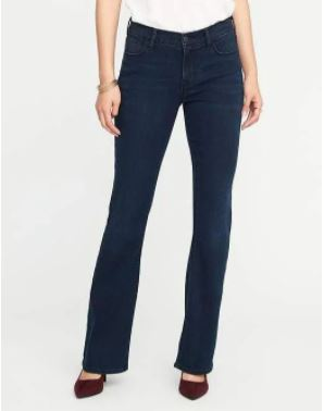 petite flare jeans: Dark-washed petite flare jeans