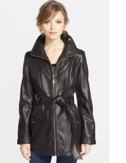 petite leather jacket: classic leather trench coat